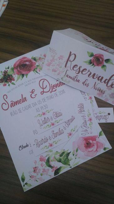 Convites, tag e a plaquinha de reservado