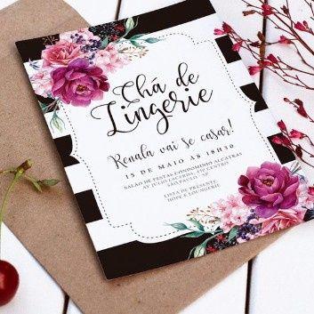 Ideias Convites Chá De Lingerie Editável