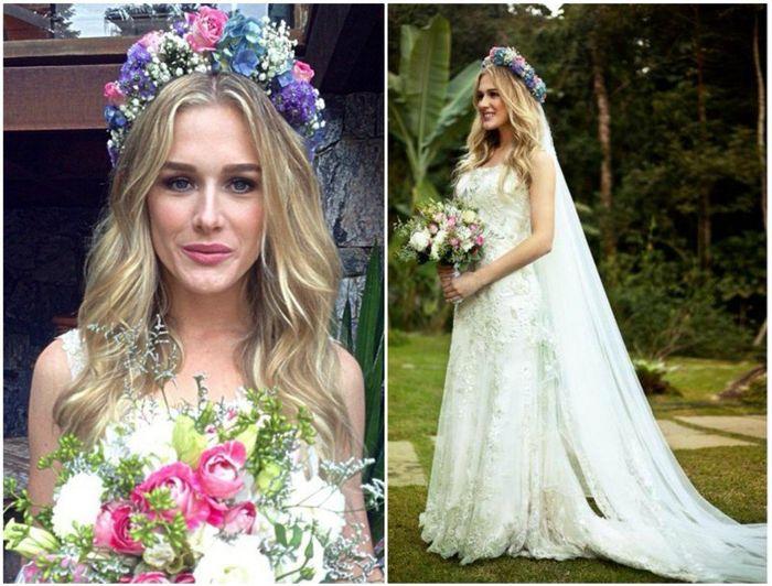 Noiva com coroa de flores e véu 9
