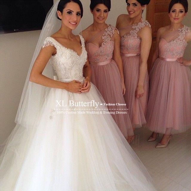 Super Cor de vestido para minhas madrinhas - rosa cha XO84