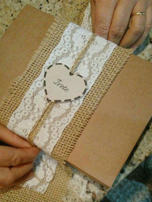 Caixa convite (rústica) para os padrinhos - 2