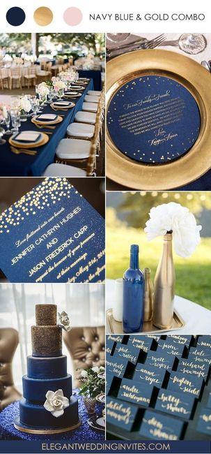 O que acham dessa paleta de cores em azul, rosé gold e dourado para o casamento?