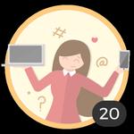 Blogueira (20). Você já criou 20 debates! Internet é um meio para compartilhar suas ideias e dúvidas com os outros. Com essa medalha, pode se considerar um autêntico blogueira.