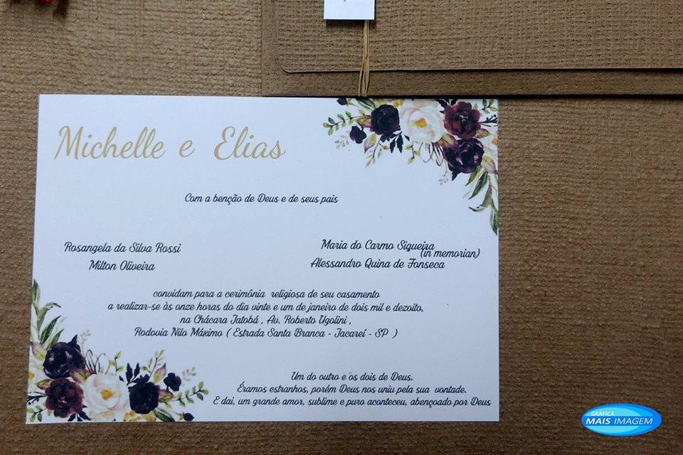 Convite de Casamento Kraft