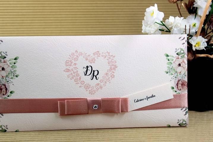 Convite papel rosê com textura