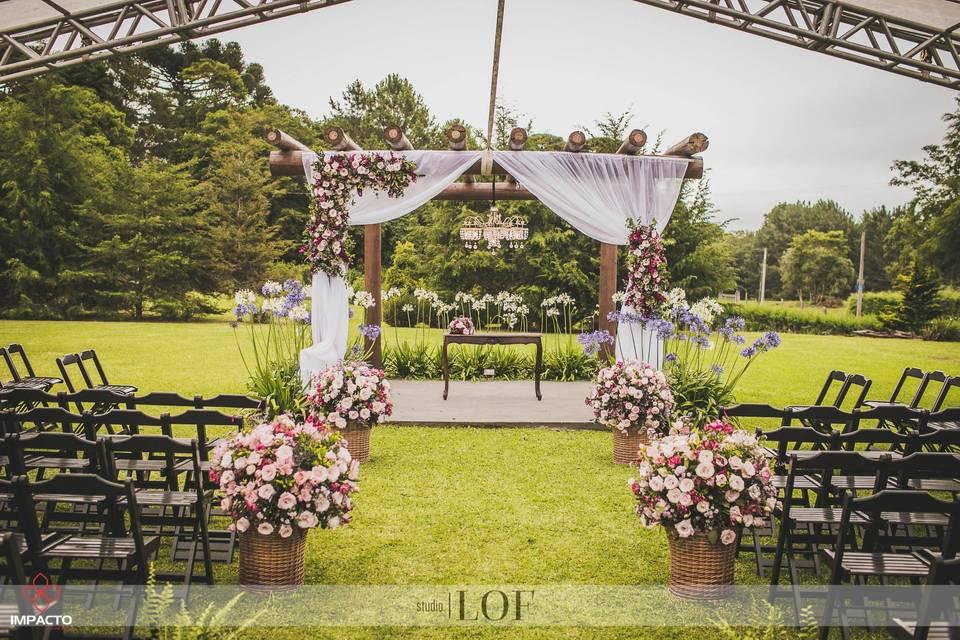 Corredor da noiva com cestos