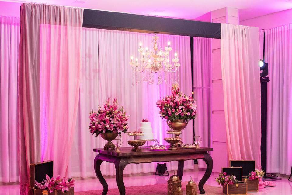 Mesa de Doces tons de rosa